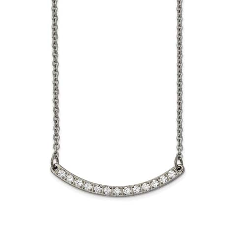Chisel Titanium Polished with CZ Bar 20.5-inch Necklace
