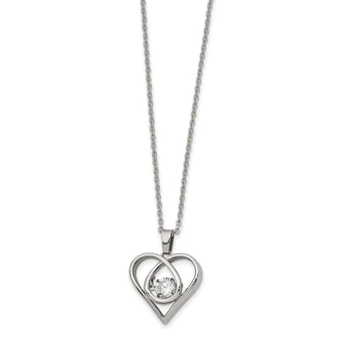 Chisel Stainless Steel Polished Vibrant Moving CZ Heart with 2-inch Extender 16-inch Necklace