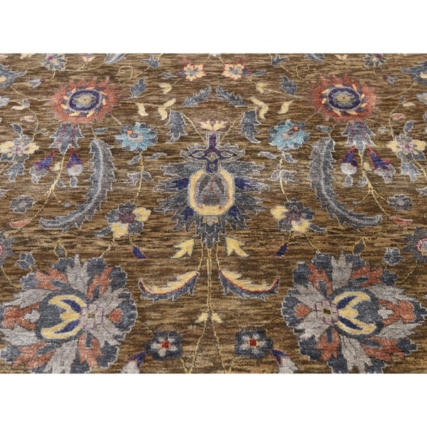 Shahbanu Rugs Brown Silk With Textured Wool Persian Design Hand Knotted Oriental Rug 8 10 X 12 0 8 10 X 12 0 Overstock 30710139