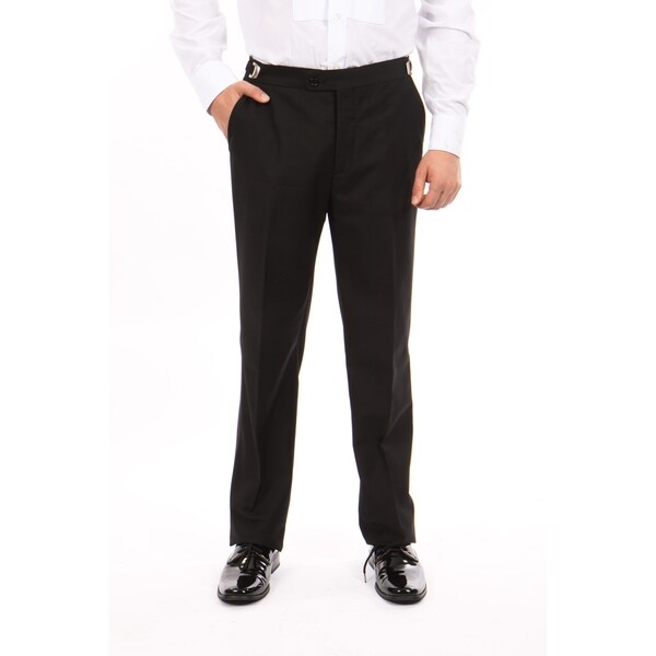 Men Solid Dress Pant Flat Front Skinny Modern Fit