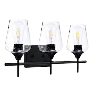 CO-Z 3-Light Matte Black Vanity Light with Clear Seeded Glass Shade