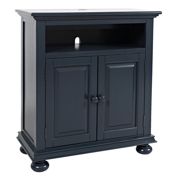 Transitional Chest with 2 USB Plugins and Double Door Storage, Navy Blue