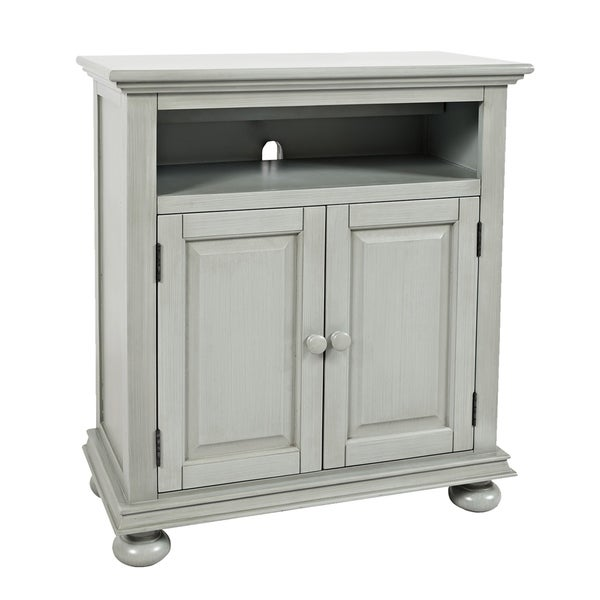 Transitional Chest with 2 USB Plugins and Double Door Storage, Gray