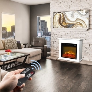 """Link to ZOKOP 18"""" Wood Cabinet Electric Fireplace 1400W Infrared Heater With Remote Control Similar Items in Fireplaces"""