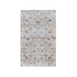"""Shahbanu Rugs Ivory Silk With Textured Wool Tabriz Hand Knotted Oriental Rug (3'1"""" x 4'10"""") - 3'1"""" x 4'10"""""""