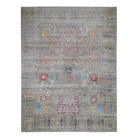 """Shahbanu Rugs Oversized Honey Brown Silk with Textured wool vaze Design Hand Knotted Oriental Rug (12'0"""" x 14'10"""")"""