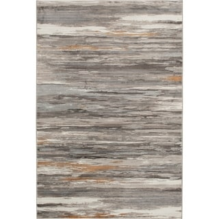 """ADMIRE Soft Grey and Gold Woven Area Rug - 7'10"""" x 9'10"""""""