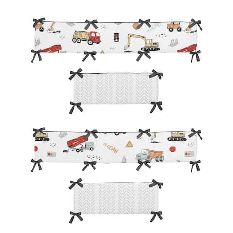 Sweet Jojo Designs Construction Truck Boy Baby Crib Bumper Pad - Grey Yellow Orange Red and Blue Transportation Chevron