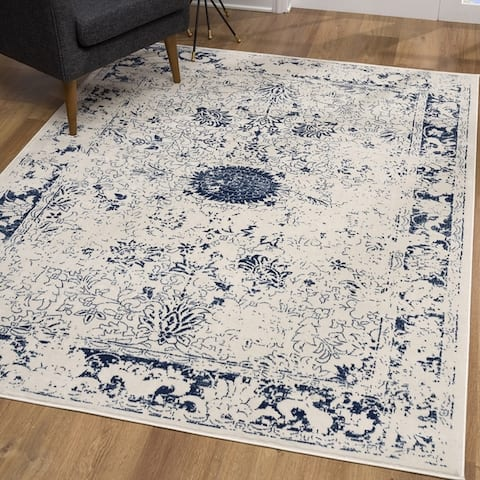 Rug Branch Havana Modern Abstract Area Rug and Runner, Navy Blue