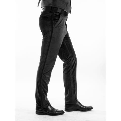 Men Solid Velvet Dress Pant Flat Front Skinny Modern Fit