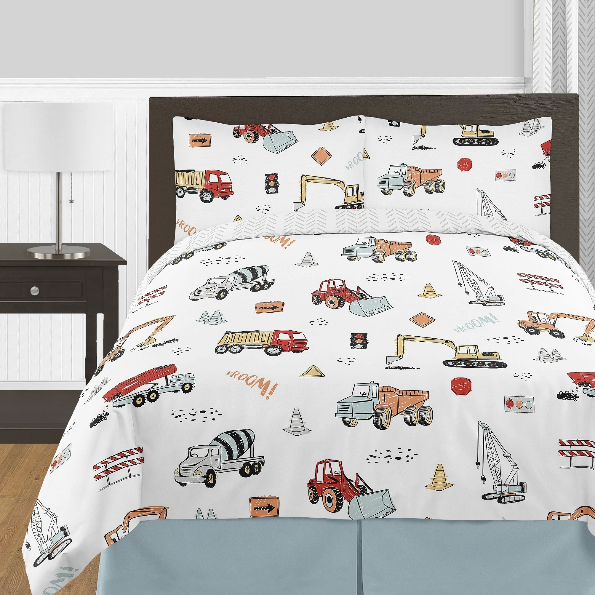 Sweet Jojo Designs Construction Truck Boy 3pc Full Queen Comforter Set Grey Yellow Orange Red And Blue Transportation Overstock 30711121