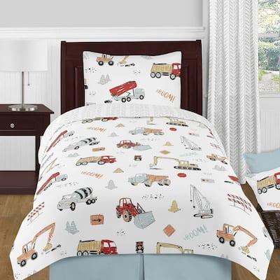 Sweet Jojo Designs Construction Truck Boy 4pc Twin Comforter Set - Grey Yellow Orange Red Blue Transportation Chevron