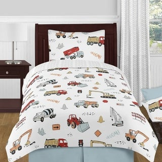 Link to Sweet Jojo Designs Construction Truck Boy 4pc Twin Comforter Set - Grey Yellow Orange Red Blue Transportation Chevron Similar Items in Kids Sheets & Pillowcases