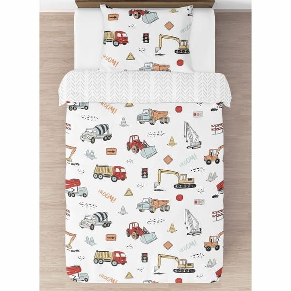 Sweet Jojo Designs Construction Truck Boy 4pc Twin Comforter Set Grey Yellow Orange Red Blue Transportation Chevron Overstock 30711135