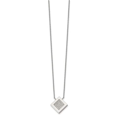 Chisel Stainless Steel Polished with CZ 17-inch and 2.75-inch Extension Necklace