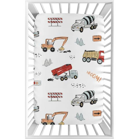 Sweet Jojo Designs Construction Truck Boy Fitted Mini Portable Crib Sheet - Grey Yellow Orange Red Blue Transportation
