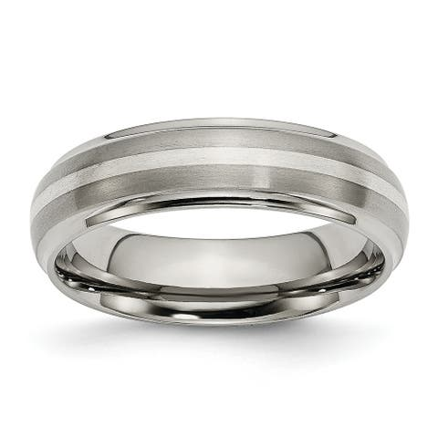 Chisel Titanium Ridged Edge Sterling Silver Inlay 6mm Brushed and Polished Band