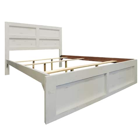 Wooden Queen Bed with Panel Headboard and Grain Details, White