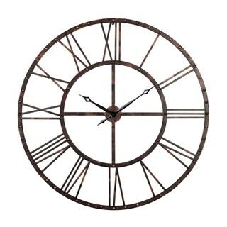 """Utopia Alley Rivet Roman Industrial Oversize Wall Clock, Antique bronze, 43.5"""""""