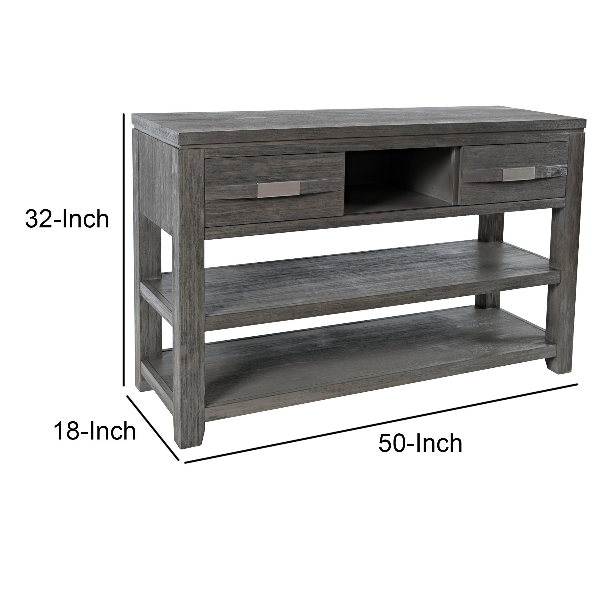 Wooden Sofa Table With 3 Open
