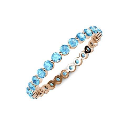 TriJewels Blue Topaz 7/8 ctw Womens Eternity Ring 14KR Gold
