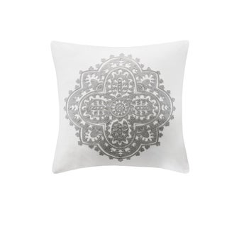 Echo Design Bukhara White Embroidered Cotton Square Decorative Pillow