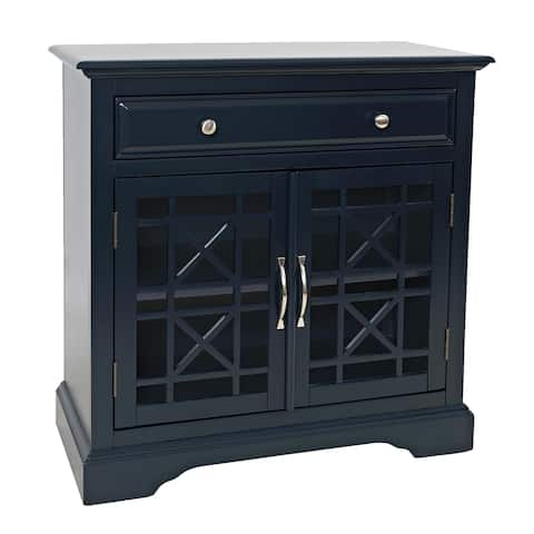 Wooden 2 Door Accent Chest with Single Drawer and X Motif Details, Blue
