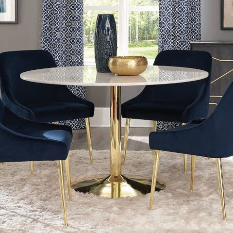 Carson Carrington Magerud White and Brass Pedestal Base Dining Table