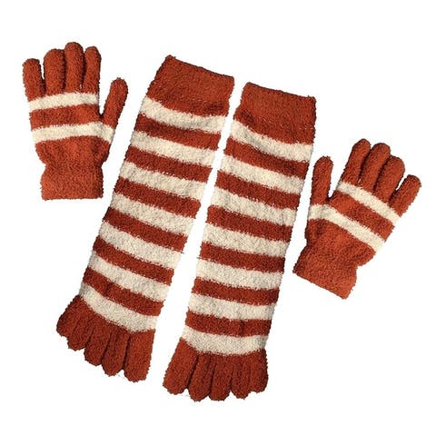 Peach Couture Cozy Candy Striped Fuzzy Toe Socks and Gloves Pack