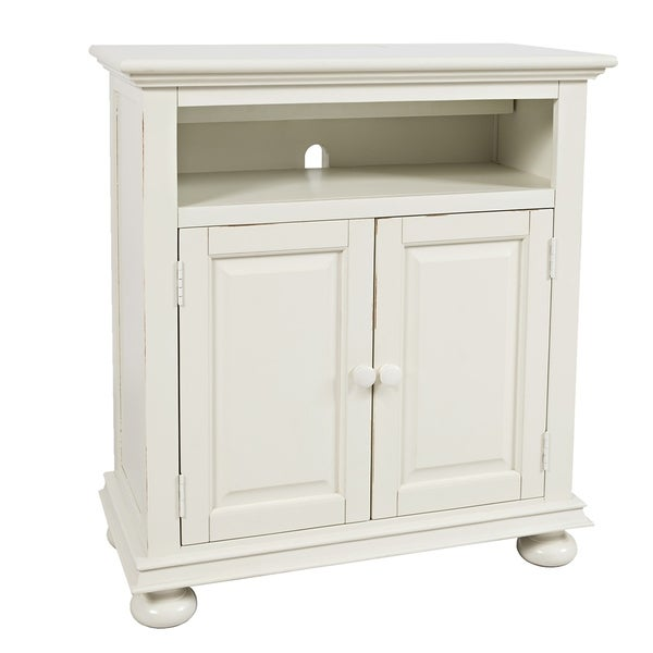 Transitional Chest with 2 USB Plugins and Double Door Storage, White