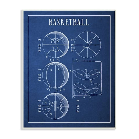 Stupell Industries Basketball Blueprint Vintage Sports Design Wood Wall Art