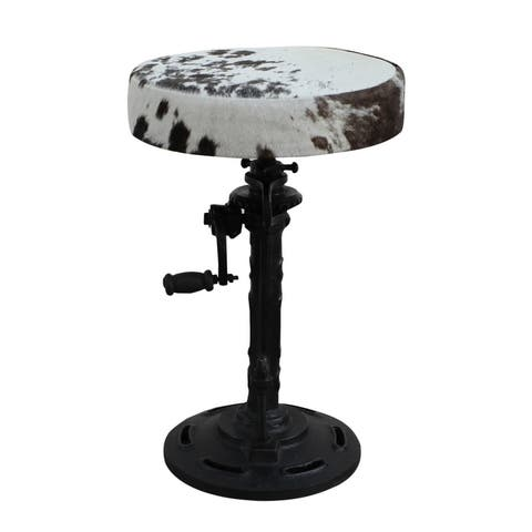 RHYS Metal Crank Bar Stool with Black & White Cowhide Seat
