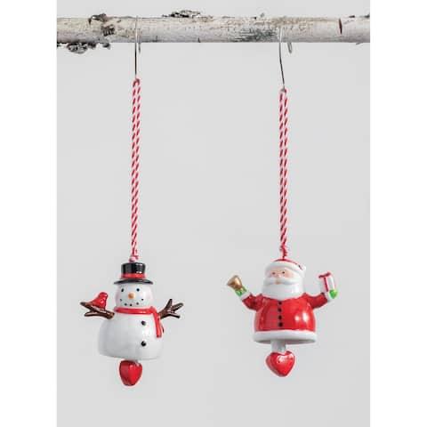 """Santa Snowman with Bell Ornament - 2.75L x1.5""""W x3.25""""H"""""""