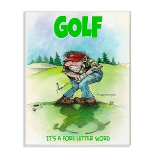 Stupell Industries Fore Letter Word Funny Golf Cartoon Sports Design Wood Wall Art
