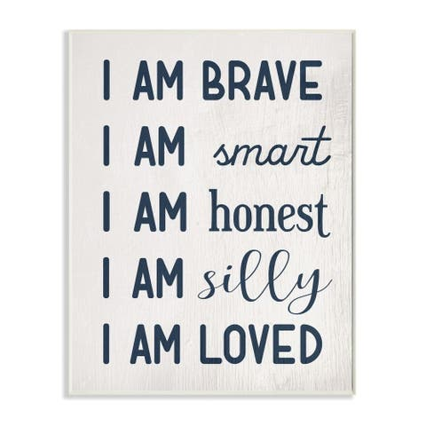 Stupell Industries I am Loved Family Kids Word Blue Design Wood Wall Art