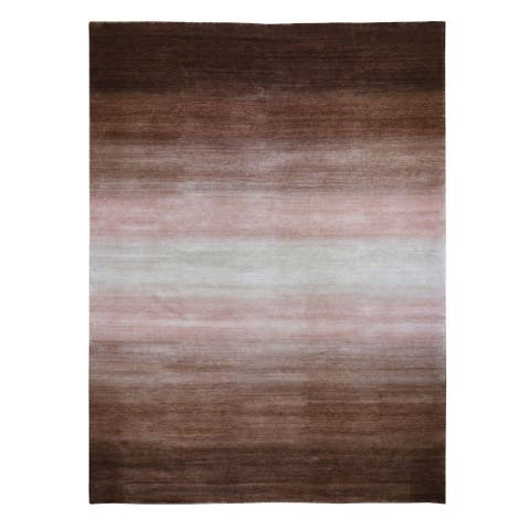 """Shahbanu Rugs Oversized Brown Champagne Modern Gabbeh Ombre Design Pure Wool Hand Knotted Oriental Rug (12'4"""" x 15'0"""")"""