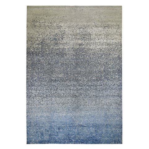 """Shahbanu Rugs Pure Silk with Textured Wool Dissipating Design Hand Knotted Oriental Rug (10'0"""" x 14'0"""") - 10'0"""" x 14'0"""""""
