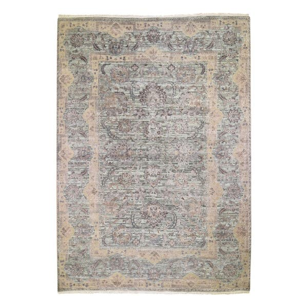 Shahbanu Rugs Light Green Pure Silk With Textured Wool Mughal Design Hand Knotted Oriental Rug 10 0 X 14 0 10 0 X 14 0 On Sale Overstock 30711900