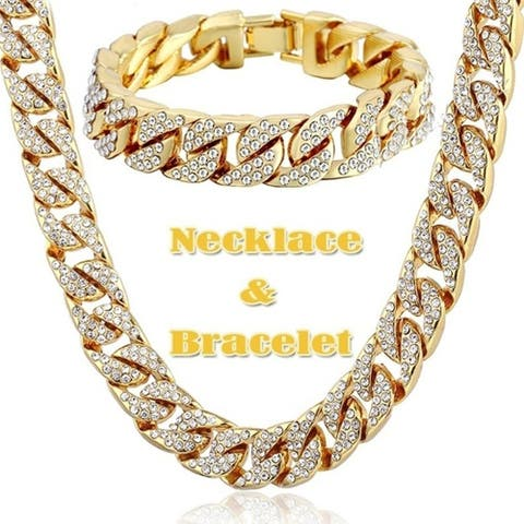 Hip Hop 18K Gold Plated Iced Out Shiny Full Simulated Clear CZ Miami Cuban Link Chain Necklace & Bracelet Mens Jewelry Sets