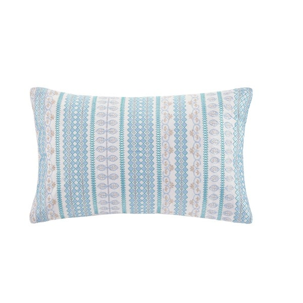 Echo Design Bukhara Blue Embroidered Cotton Oblong Decorative Pillow