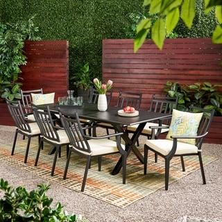 Link to Delmar 9-piece Outdoor Dining Set with Expandable Table by Christopher Knight Home Similar Items in Patio Furniture