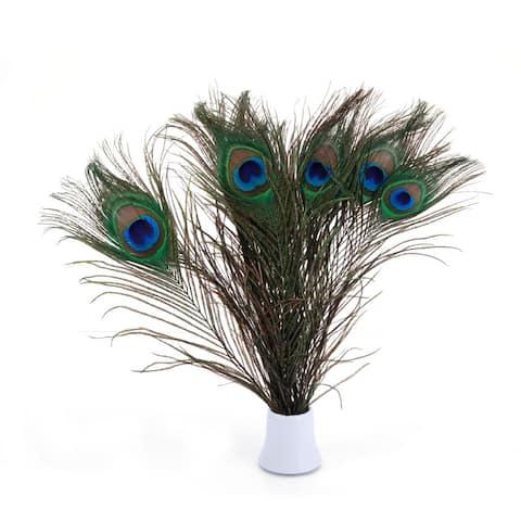 100pcs Beautiful Decoration Peacock Feathers Multi-Colored