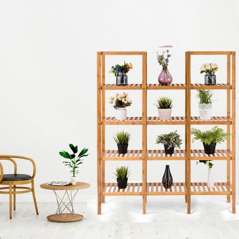 Kaivu 5-tier Bamboo Flower Plant Display Shelf by Havenside Home