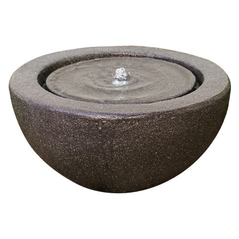XBrand Round Sphere Tabletop Water Fountain w/Pebbels, Indoor Outdoor Décor, 10 Inch Tall, White