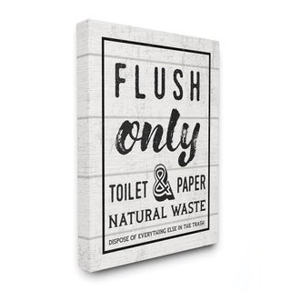 Stupell Industries Flush Only Bathroom Sign Family Home Word Design Canvas Wall Art