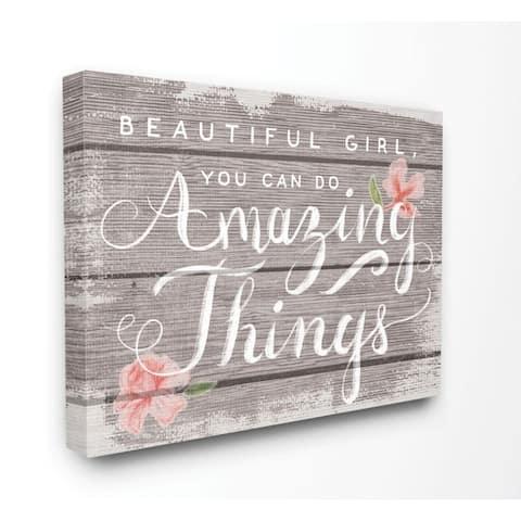 Stupell Industries Beautiful Girl Inspirational Kids Flower Word Design Canvas Wall Art