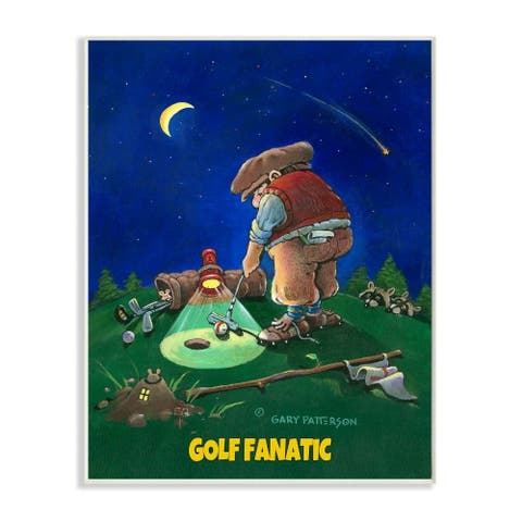 Stupell Industries Gold Fanatic Funny Golf Cartoon Sports Design Wood Wall Art