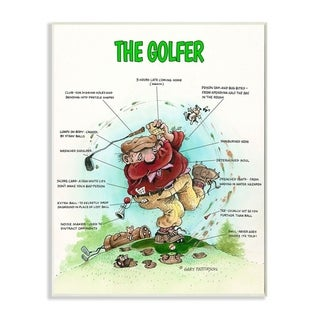 Stupell Industries The Golfer Funny Golf Cartoon Sports Design Wood Wall Art