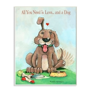 Link to Stupell Industries Love and A Dog Funny Pet Cartoon Design Wood Wall Art Similar Items in Wood Wall Art