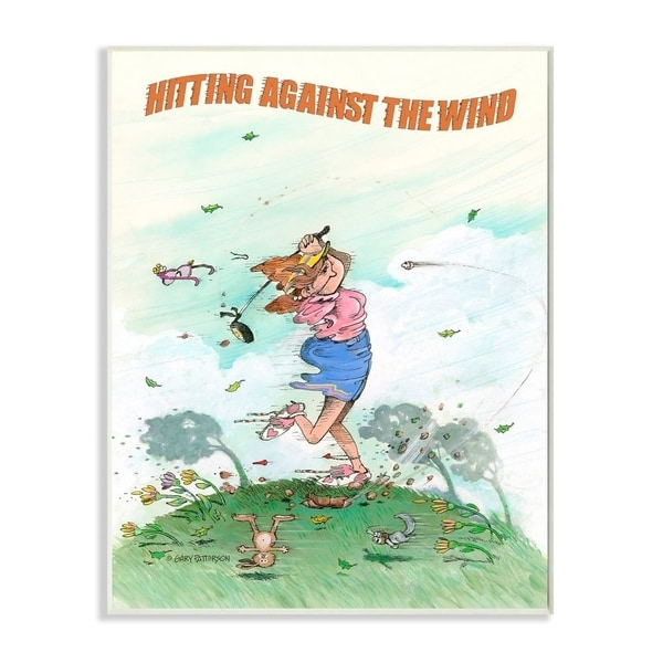 Stupell Industries Hitting Against The Wind Funny Golf Cartoon Sports Design Wood Wall Art